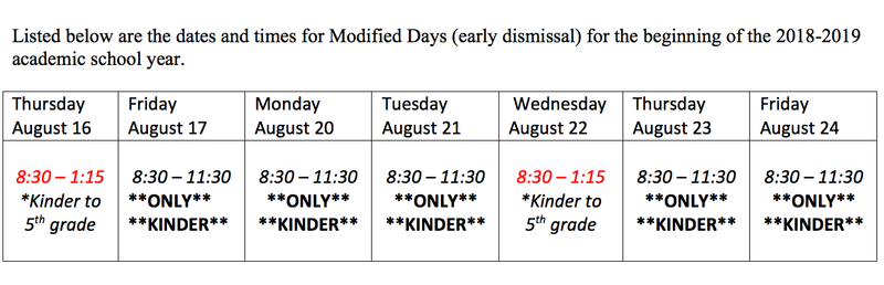 Kindergarten Modified Schedule (VERY IMPORTANT) Featured Photo
