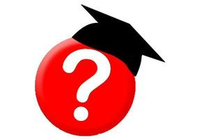 Ball with a question mark wearing a graduation hat