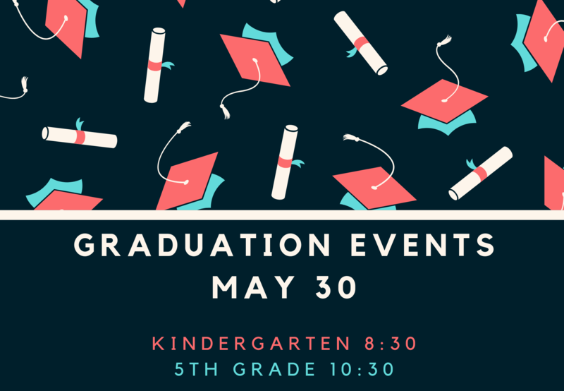 Graduation caps with dates for kinder and 5th grade graduation.