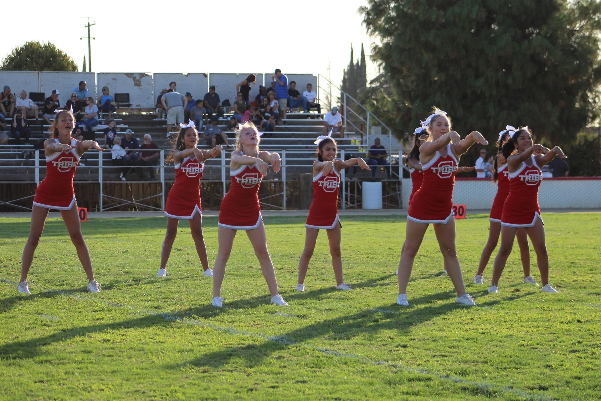 junior varsity cheer at the central valley christian football game