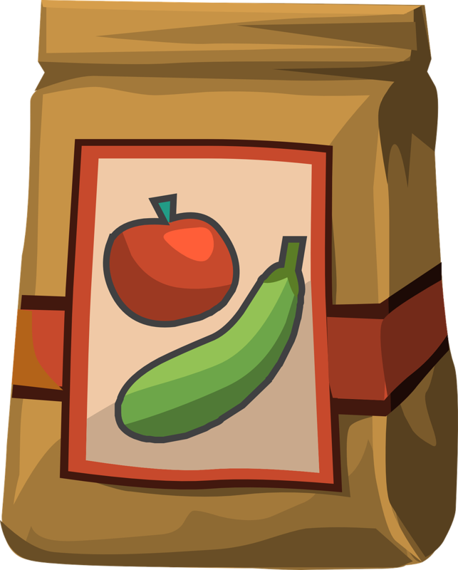 Clip art of brown paper lunch bag with apple and cucumber.
