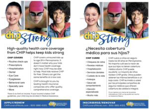 Flyers in English and Spanish advertising health insurance for PA kids with photos of children at the top.