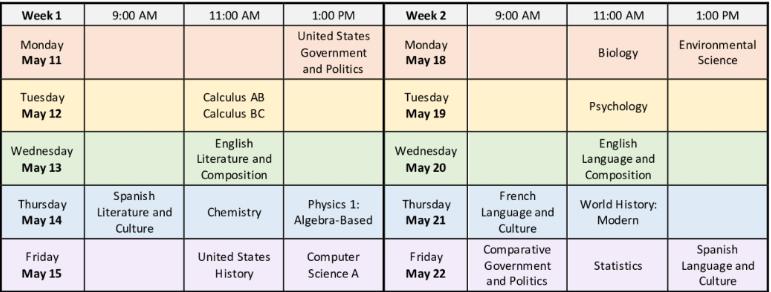 New AP exam dates