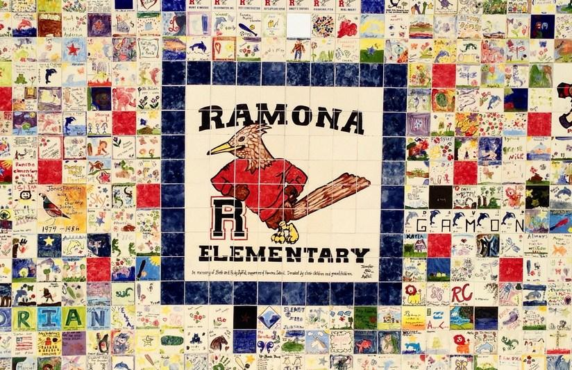 A Ramona Elementary Roadrunner mural made of small individual tiles