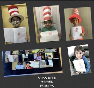 Students with Dr. Seuss assignments collage