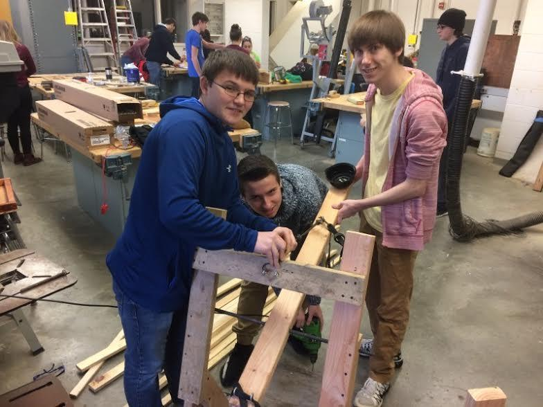 student building catapults