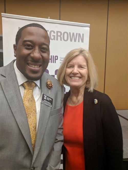 Mr. Wilson taking a picture with SC State Superintendent Dr. Molly Spearman at the 2019 District TOY Conference