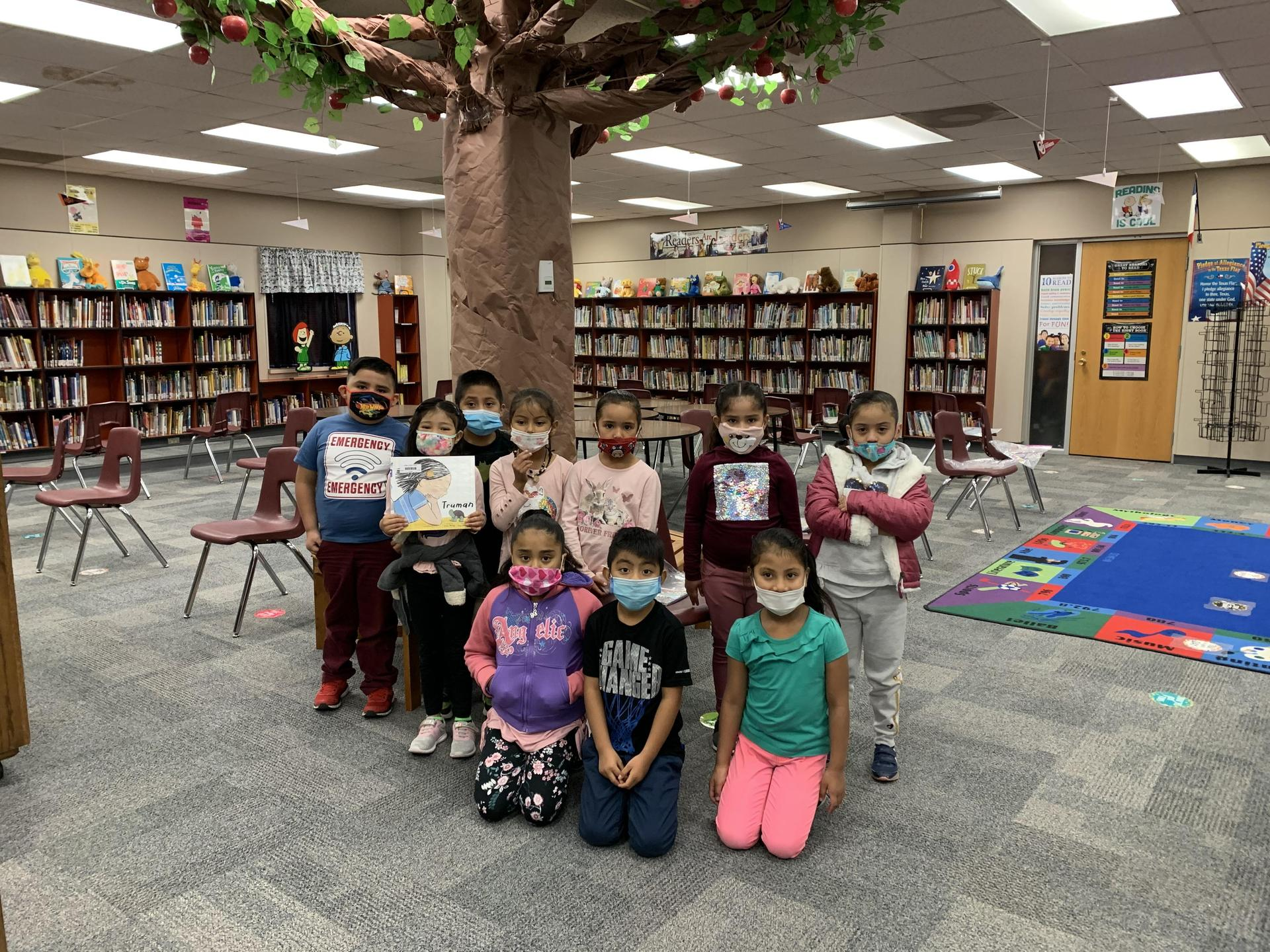 Mrs. Lara's class at their weekly library visit.