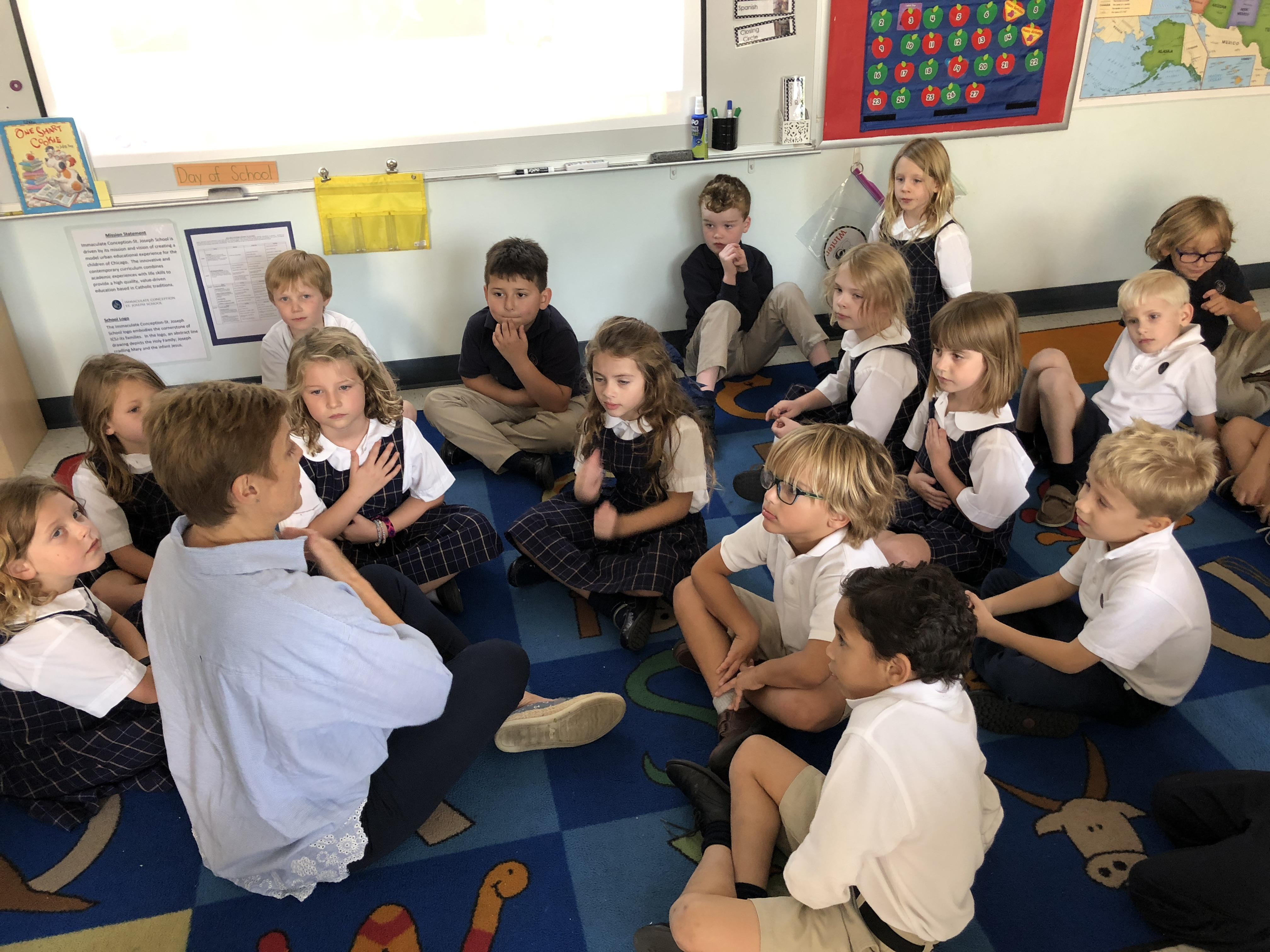Classroom practicing mindful breathing