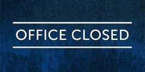 dark blue background with office closed