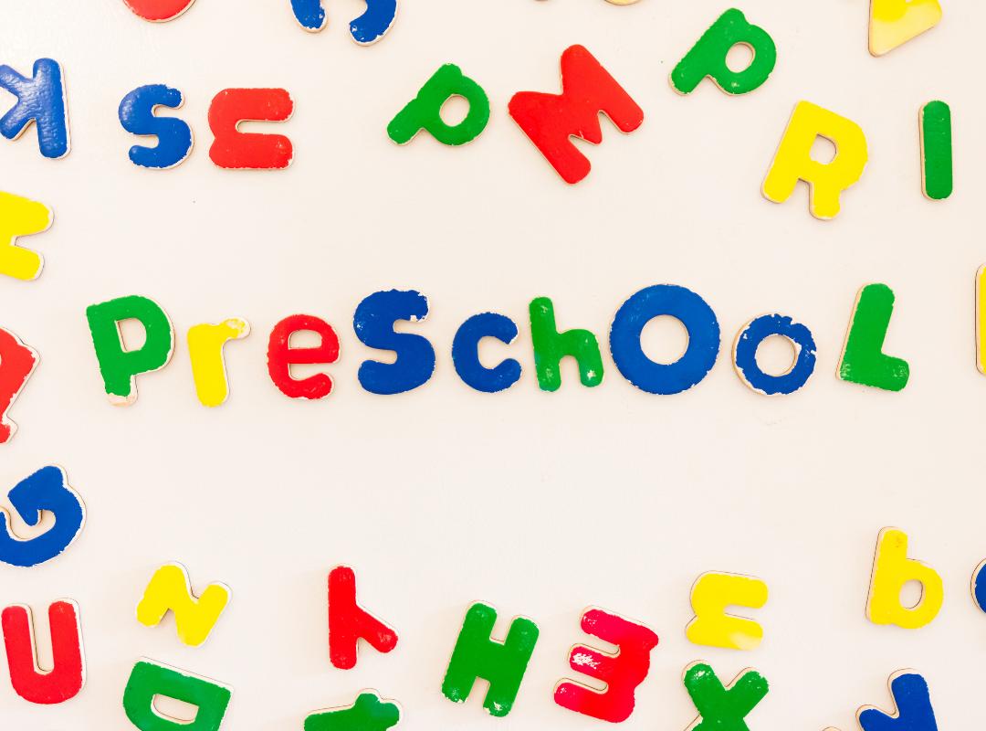 preschool written in magnetic letters