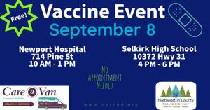 Image advertising September 8th Vaccine Event