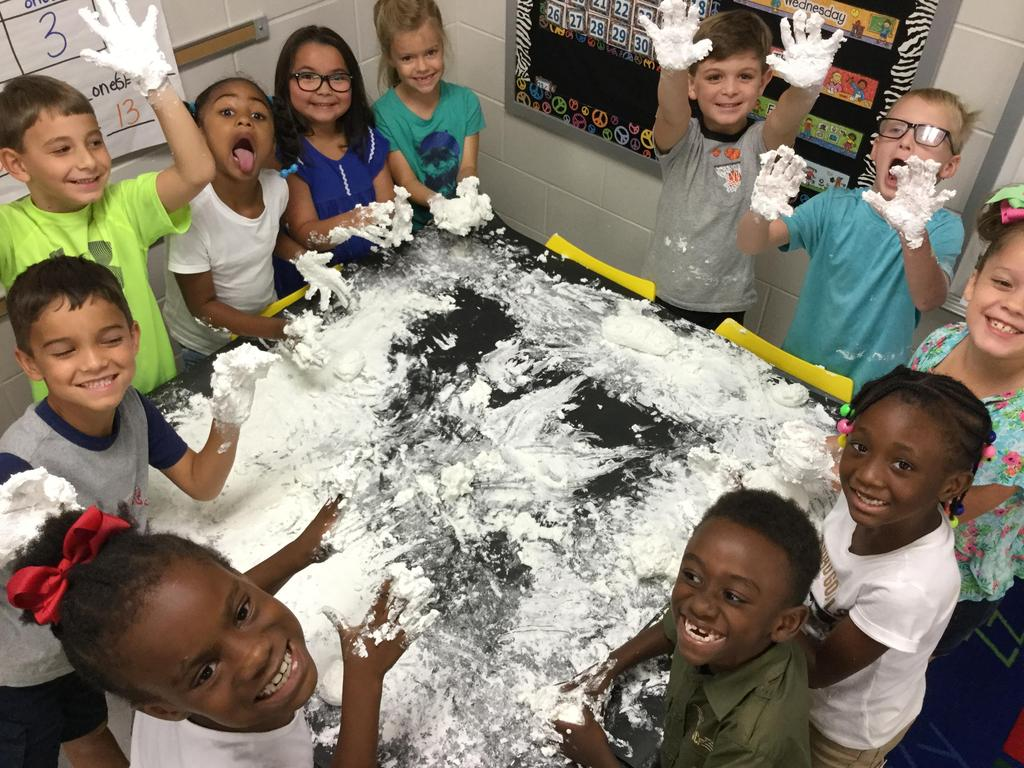 Students making snow