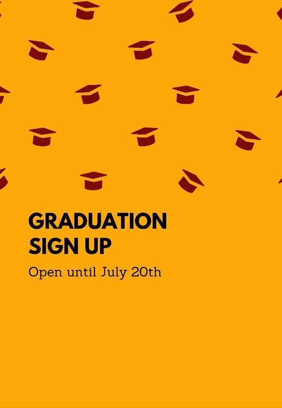 Graduation sign-up flyer