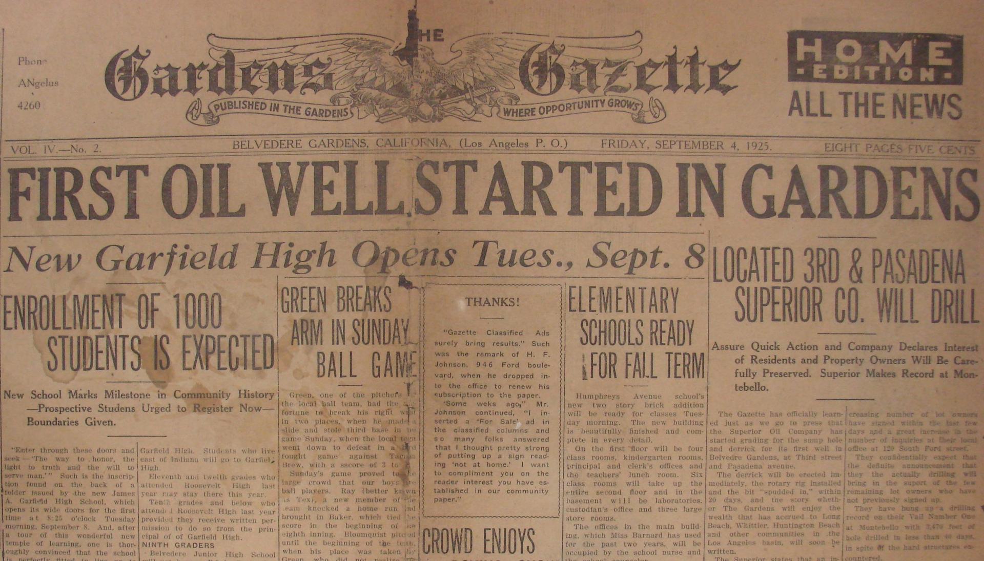 Newspaper Announcing that Garfield High School will open in one week