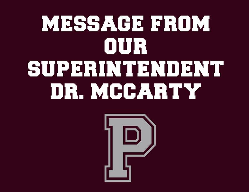 Message from Dr. McCarty