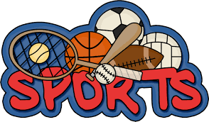 """The word """"sports"""" surrounded by various sports equipment"""