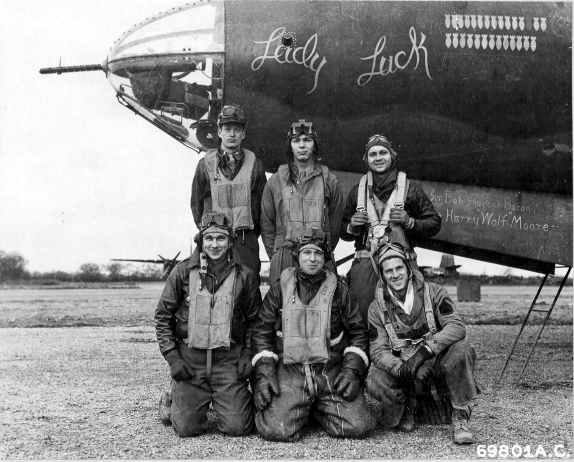 Major Curran (center, standing) and his crew were shot down, but all lived