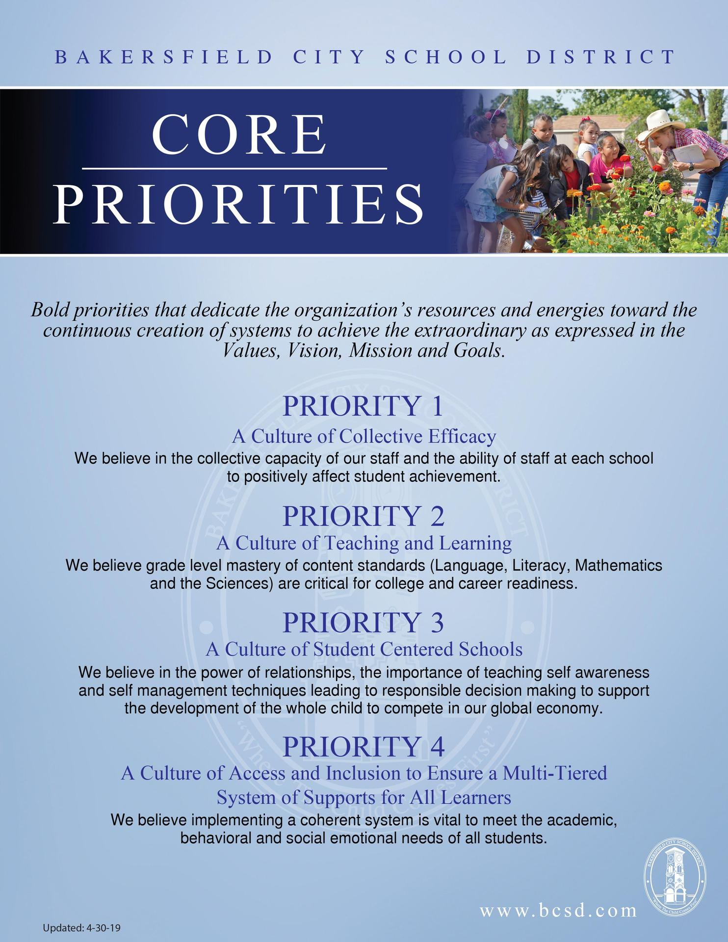 core priorities