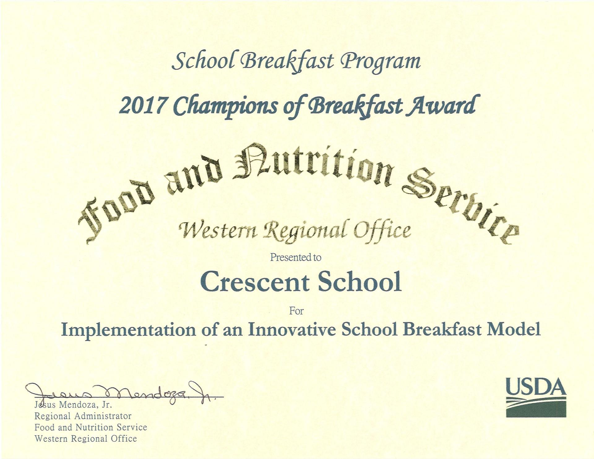 2017 Champion of Breakfast Award