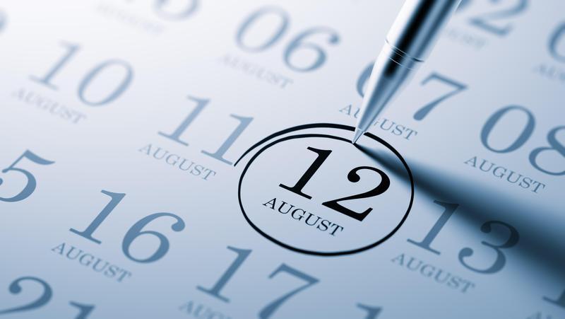 August 12th Calendar Date