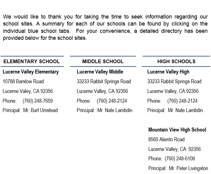 Lucerne Valley Unified School District Our School Directory