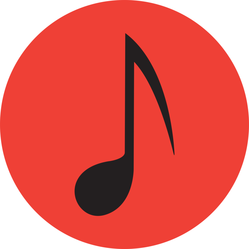 music note with red background