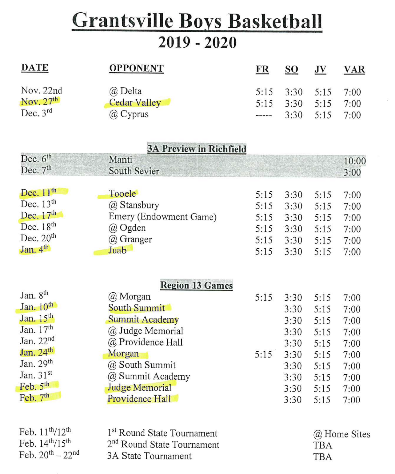 picture of boys basketball schedule