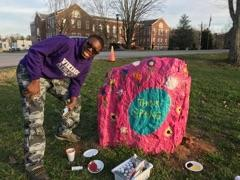 Student Painting Rock