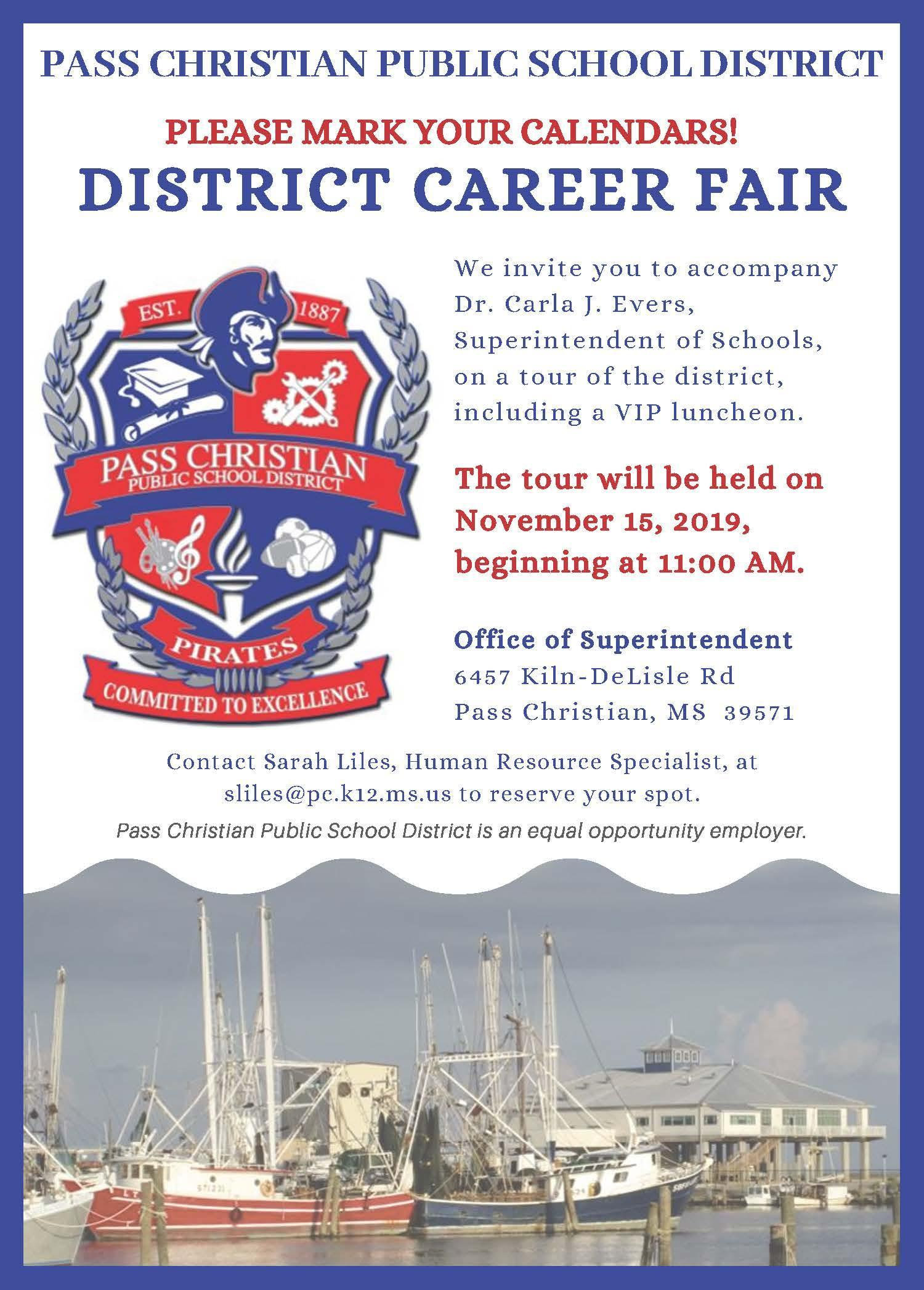Invitation to district career fair on 11/15/2019 beginning at 11:00 am.