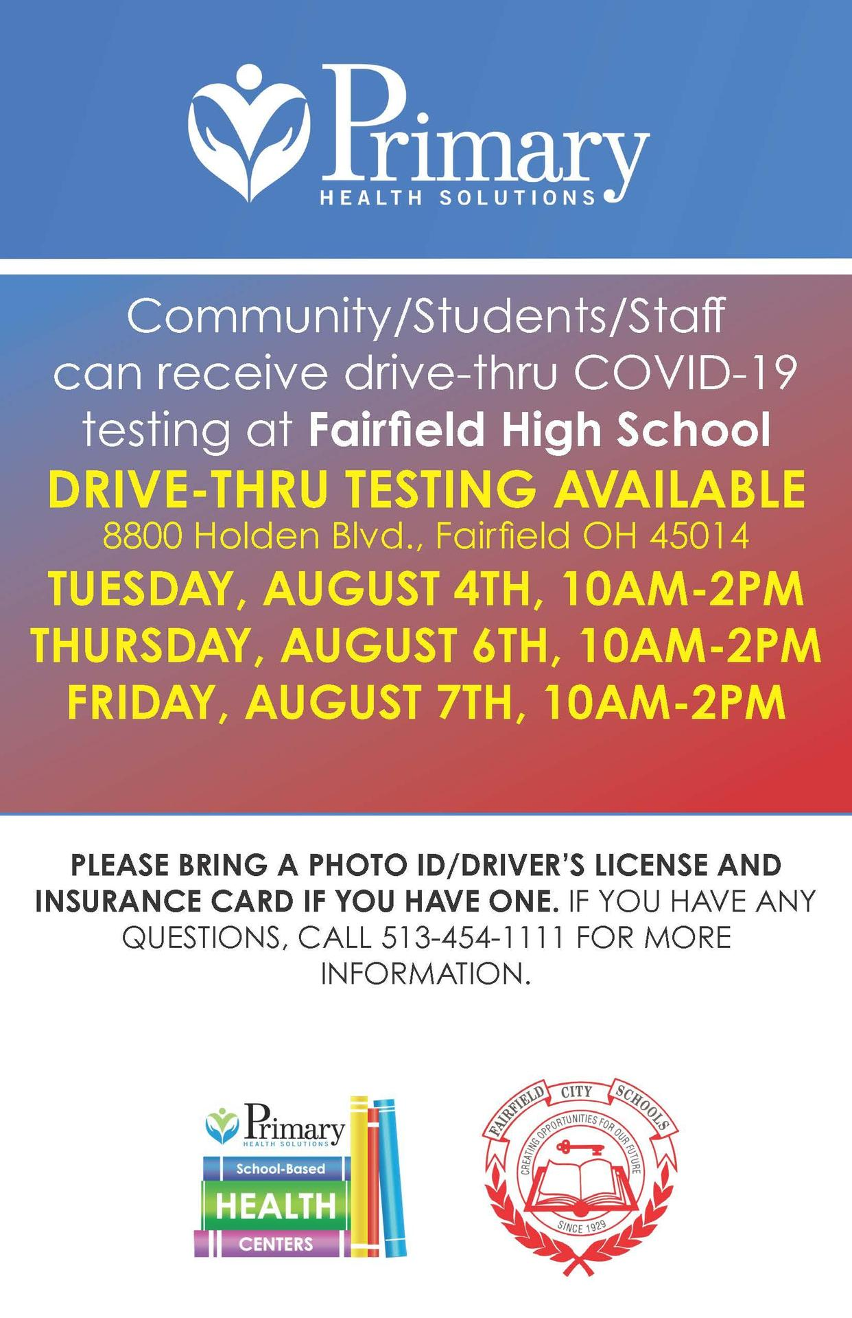 Image of a flyer announcing that Primary Health Solutions will provide free COVID-19 testing Aug. 4, 6 and 7 from 10-2 at FHS.