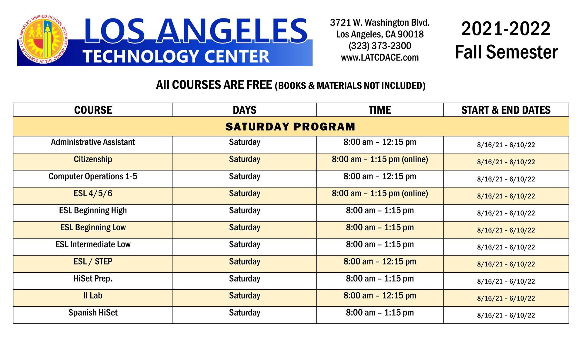 Fall Saturday Courses