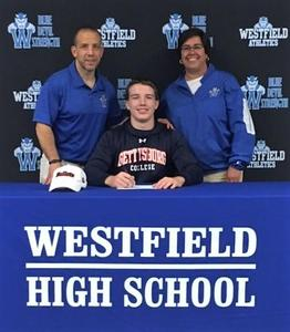 Westfield High School senior Brendan Loder signs Letter of Intent to wrestle at Gettsyburg College next fall.  Pictured here with Coach Glen Kurz and Supervisor of Athletics Sandra Mamary.