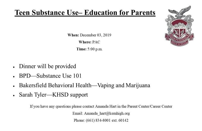 RESCHEDULED: Teen Substance Use - Education for Parent Thumbnail Image