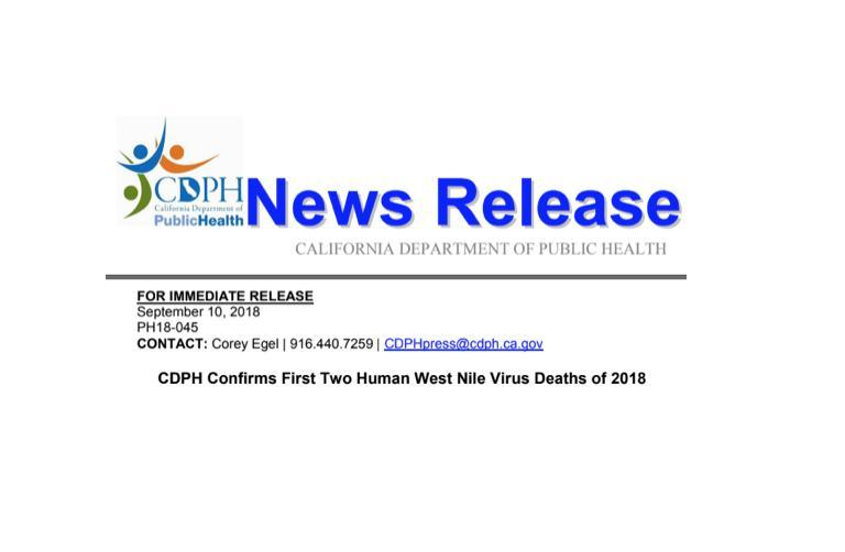 First Two Human West Nile Virus Deaths of 2018 Featured Photo