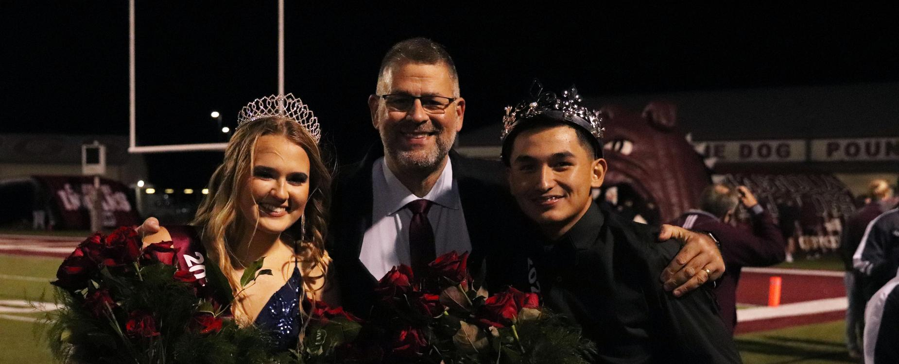 Homecoming King and Queen with Mr. Quinn