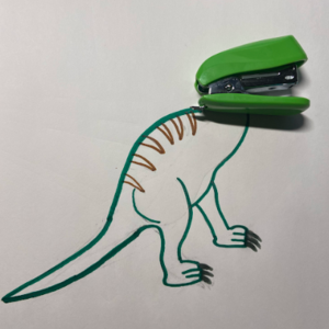 green stapler dinosaur