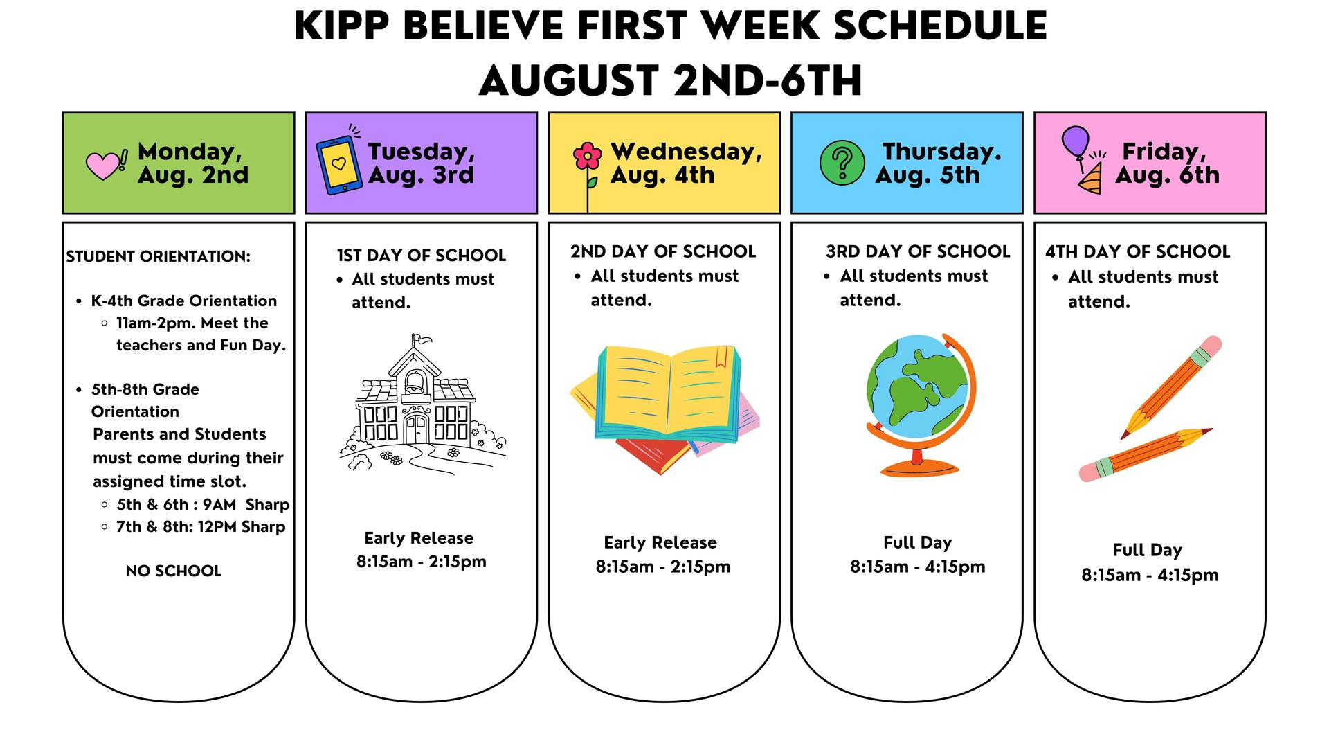 First Week of School Schedule. Aug 2nd - 6th