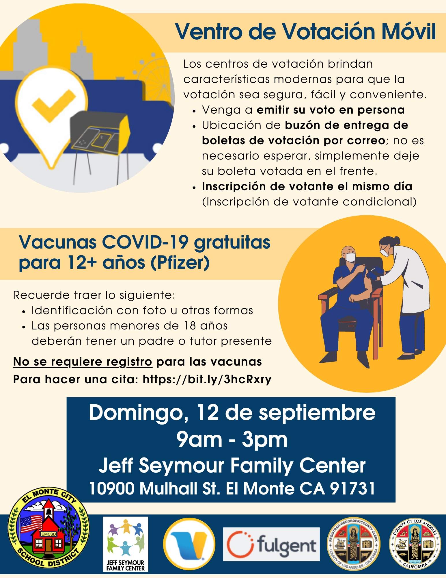 Mobile Voting Center and Pop-Up Vaccine Clinic at Jeff Seymour Family Center on Sunday, September 12 from 9am - 3pm. Spanish flyer