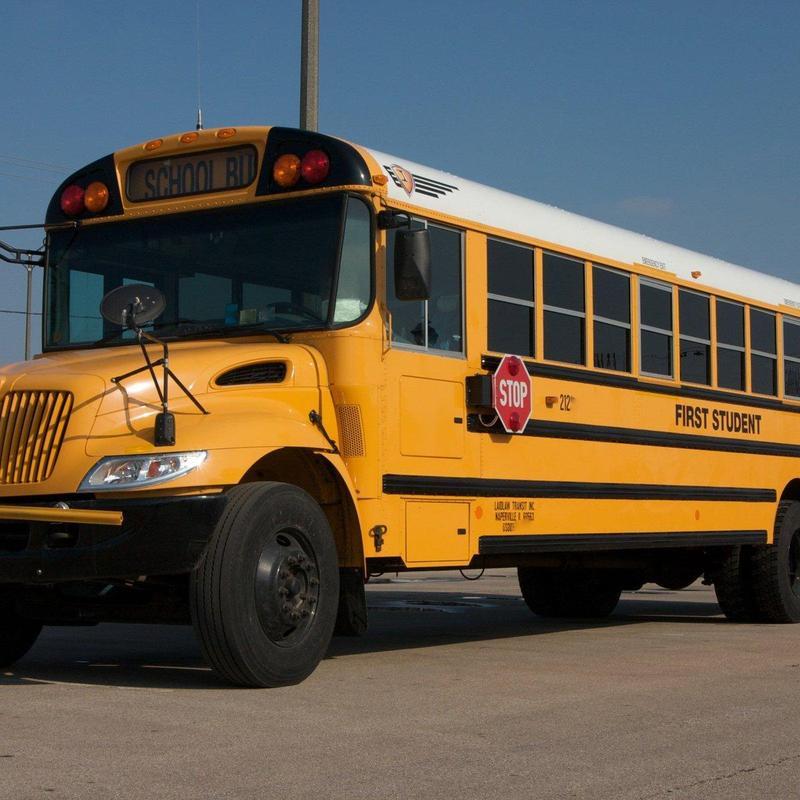 Long yellow school bus