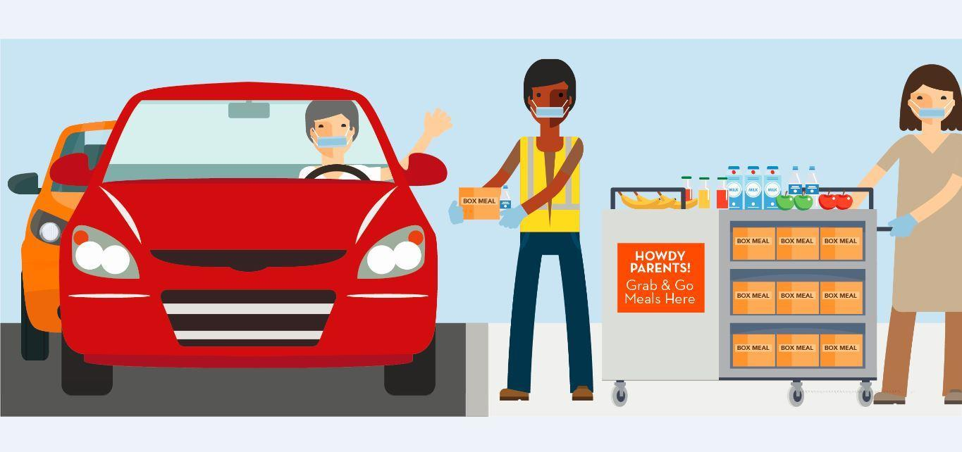 Picture of two people handing lunches to another person in a vehicle