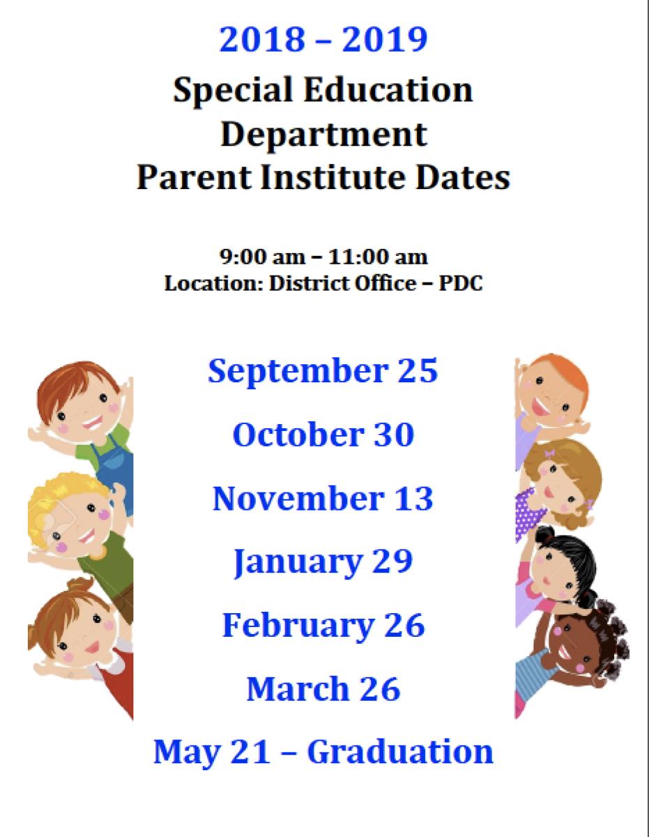 Parent Institute Meeting Dates 18/19