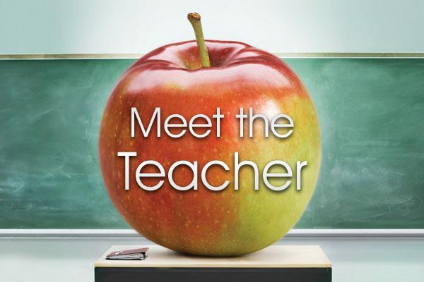 Picture of apple with the words Meet The Teacher