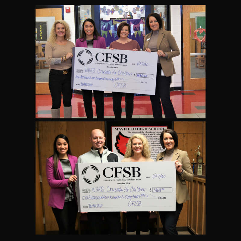 Collage of presentation checks from Mayfield Elementary and from Mayfield High Schools.