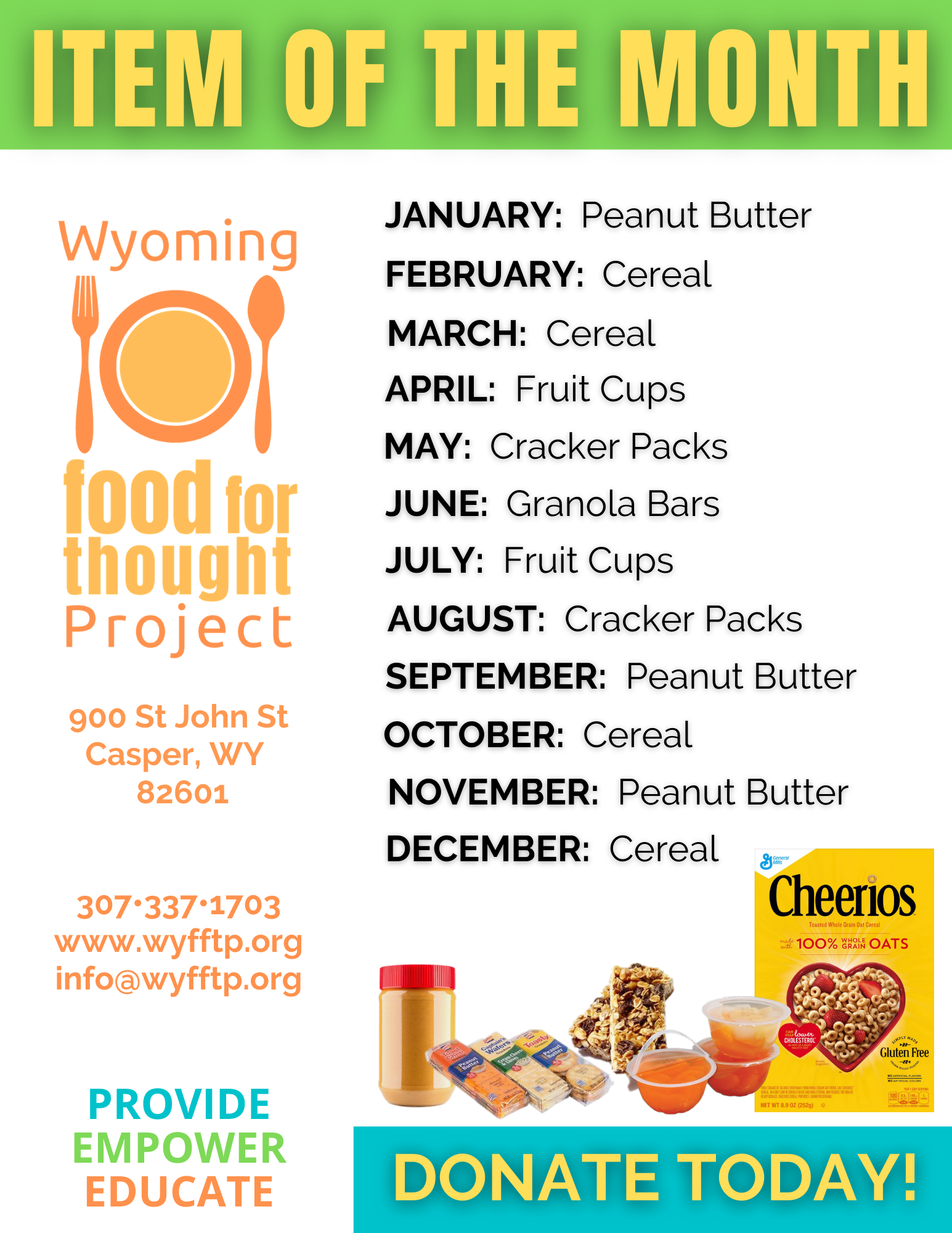 Wyoming Food for Thought Item of the Month flyer