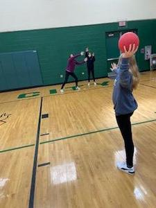 PE at the MS playing speedball