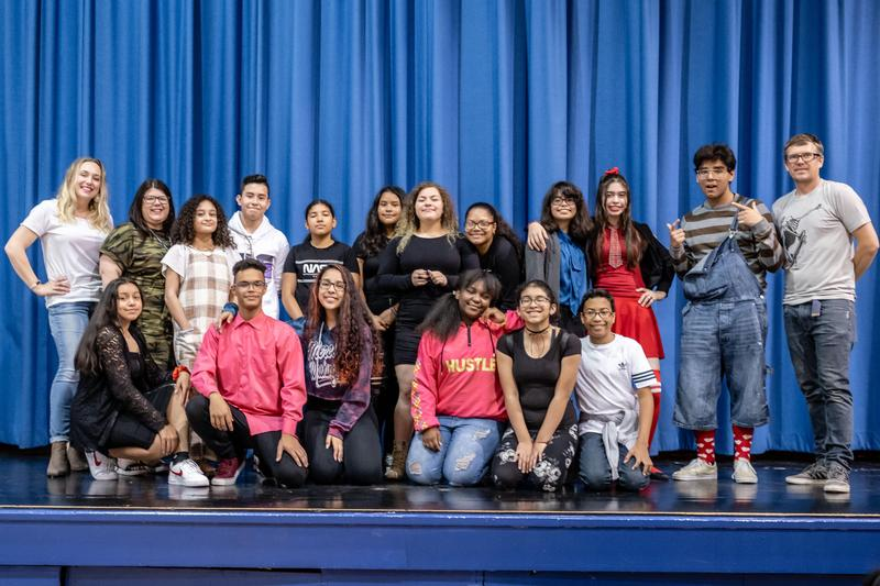 Group of students and teachers that performed for the talent show