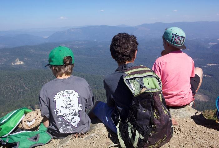 Students looking out over Spanish Peak