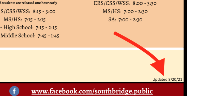 Detail image of the school calendar to show the location of the document date