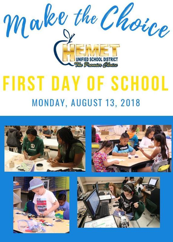 Make the Choice to attend the first day of school, Monday, August 13th!